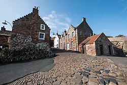 View of houses in historic village at Crail in the East Neuk of Fife in Scotland United Kingdom