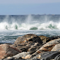 Waves crash into the beach at Hosta, North Uist in the Outer Hebrides.