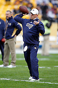 St. Louis Rams offensive coordinator Josh McDaniels throws a pass during pregame warmups before the NFL week 16 football game against the Pittsburgh Steelers on Saturday, December 24, 2011 in Pittsburgh, Pennsylvania. The Steelers won the game in a 27-0 shutout. ©Paul Anthony Spinelli