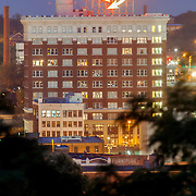 Vertical photo of Western Auto Lofts building and sign, downtown Kansas City, Missouri.