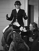 Erin Ballard (CAN) riding Carimba B reacts to her round in the Greenhawk Canadian Championship - Round 1 at The Royal Horse Show, TORONTO, CANADA.  November 4 2016
