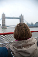 A view of the Tower Bridge from the River Thames, London, England.