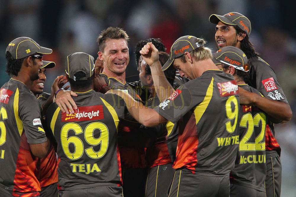 Dale Steyn celebrates the win with team mates during match 3 of of the Pepsi Indian Premier League between The Sunrisers Hyderabad and The Pune Warriors held at the Rajiv Gandhi International  Stadium, Hyderabad  on the 5th April 2013..Photo by Ron Gaunt-IPL-SPORTZPICS..Use of this image is subject to the terms and conditions as outlined by the BCCI. These terms can be found by following this link:..http://www.sportzpics.co.za/image/I0000SoRagM2cIEc