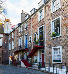 Exterior view of historic houses at Ramsay Garden in Edinburgh Old Town, Scotland, UK
