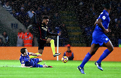 Raheem Sterling of Manchester City skips past the challenge from Andy King of Leicester City - Mandatory by-line: Robbie Stephenson/JMP - 10/12/2016 - FOOTBALL - King Power Stadium - Leicester, England - Leicester City v Manchester City - Premier League