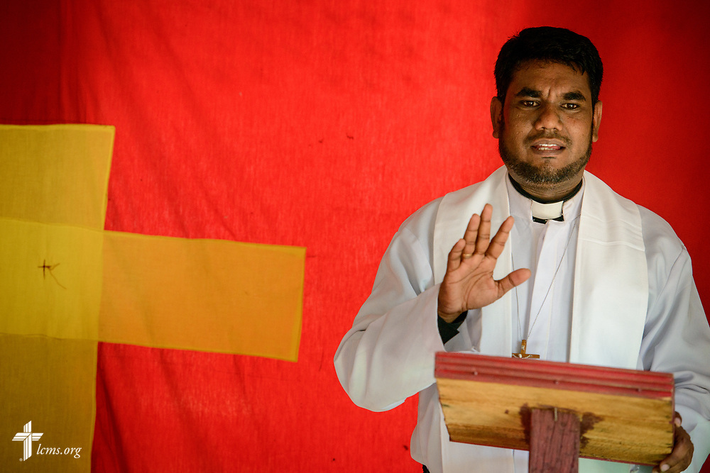 The Rev. P. Gnanakumar addresses his congregation following worship on the Eila rubber plantation in the Sabaragamuwa Province of Sri Lanka on Sunday, Jan. 21, 2018. LCMS Communications/Erik M. Lunsford