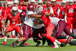 NORMAL, IL - October 13: Devin Taylor. D.J. Davis, Bryson Strong Nick Kielbasa during a college football game between the ISU (Illinois State University) Redbirds and the Southern Illinois Salukis on October 13 2018 at Hancock Stadium in Normal, IL. (Photo by Alan Look)
