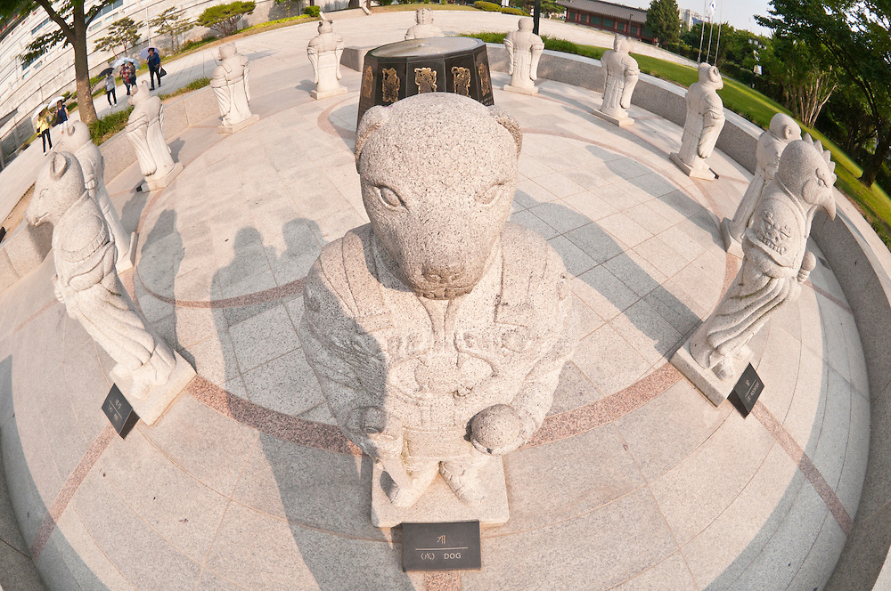 Chinese zodiac astrology statues outside National Folk Museum, Seoul, South Korea