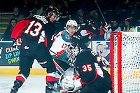 KELOWNA, CANADA - JANUARY 3: Rodney Southam #17 of Kelowna Rockets attempts to score a goal against the Prince George Cougars on January 3, 2015 at Prospera Place in Kelowna, British Columbia, Canada.  (Photo by Marissa Baecker/Shoot the Breeze)  *** Local Caption *** Rodney Southam;