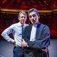 Nederland, Amsterdam, 4 maart 2016.<br />Waldemar Torenstra (hoofdrolspeler in Advocaat van de duivel) en strafrechtadvocaat Gerard Spong (gastrol in het toneelstuk)<br /><br /><br /><br />Foto: Jean-Pierre Jans