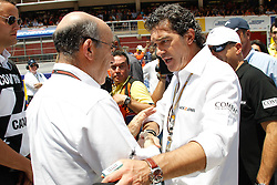 04.07.2010, Montmelo, Barcelona, ESP, MotoGP, Grand Prix von Katalonien im Bild Antonio Banderas and C. Ezpeleta, EXPA Pictures © 2010, PhotoCredit: EXPA/ InsideFoto/ Semedia *** ATTENTION *** FOR AUSTRIA AND SLOVENIA USE ONLY! / SPORTIDA PHOTO AGENCY