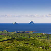 Skellig Islands seen from Geokaun Mountain on a fine, fine day in County Kerry, Ireland ****** <br />