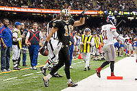 28 November 2011: Wide receiver (16) Lance Moore of the New Orleans Saints celebrates after scoring a touchdown against the New York Giants during the first half of the Saints 49-24 victory over the Giants at the Mercedes-Benz Superdome in New Orleans, LA.