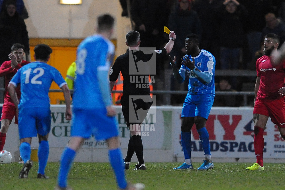 TELFORD COPYRIGHT MIKE SHERIDAN Akwasi Asante is booked for diving during the Vanarama Conference North fixture between AFC Telford United and Chester at the 1885 Arena Deva Stadium on Saturday, December 21, 2019.<br /> <br /> Picture credit: Mike Sheridan/Ultrapress<br /> <br /> MS201920-035