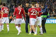 Wayne Rooney of Manchester United and Luke Shaw of Manchester United after the Champions League Qualifying Play-Off Round match between Club Brugge and Manchester United at the Jan Breydel Stadion, Brugge, Belguim on 26 August 2015. Photo by Phil Duncan.