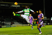 Yeovil Town's Francois Zoko and Plymouth Argyle's Curtis Nelson during the Sky Bet League 2 match between Yeovil Town and Plymouth Argyle at Huish Park, Yeovil, England on 23 February 2016. Photo by Graham Hunt.