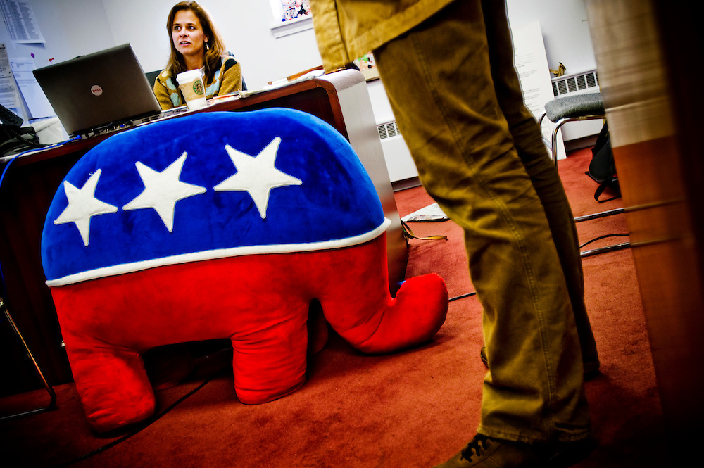 Ohio Swingstate..Lawyer Kati Hertel works with the voter registration lawsuit, at her desk in the Republican Party headquarters in Columbus Ohio..Photographer: Chris Maluszynski /MOMENT