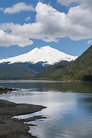 Mount Baker seen from east side of Baker Lake, North Cascades Washington.