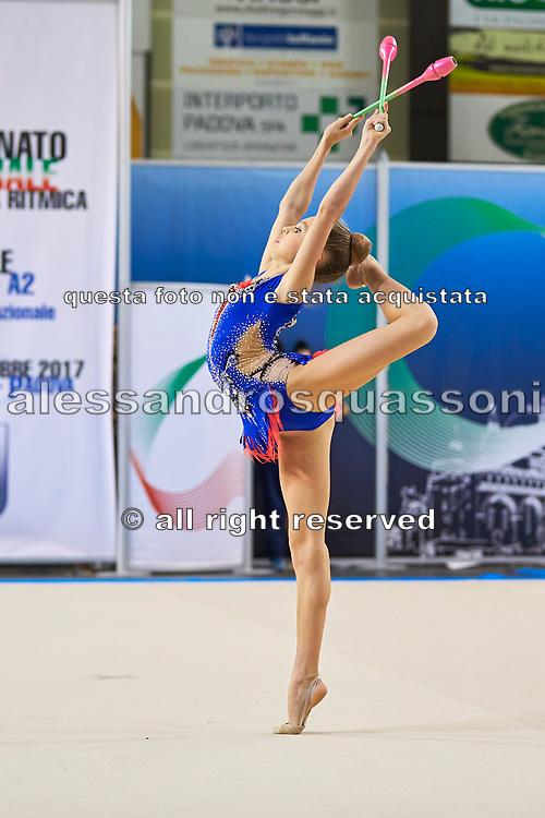 Eleonora Tagliabue from San Giorgio Desio team during the Italian Rhythmic Gymnastics Championship in Padova, 25 November 2017.