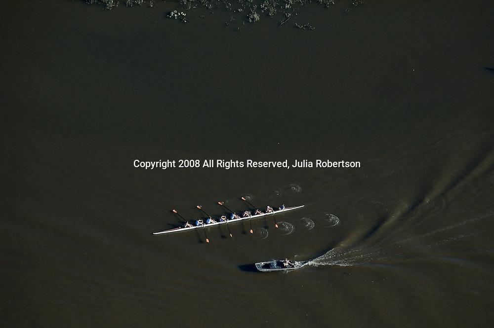 Aerial view of rowing practice, Wilmington, DE,
