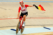 Belgium's Victor Campenaerts celebrates taking the UCI hour record in Aguascalientes, Mexico on 16 April 2019.<br /> Copyright photo: panoramic / www.photosport.nz