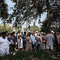 Supporters line up outside prior to President Barack Obama arriving, during his Grassroots event at the Kissimmee Civic Center in Kissimmee, Florida on Saturday, September 8, 2012. (AP Photo/Alex Menendez)