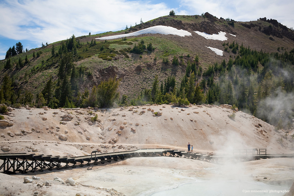 Bumpass Hell sulfur pit at the Mt Lassen volcanic National Park in California.