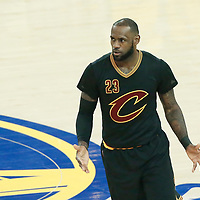 12 June 2017: Cleveland Cavaliers forward LeBron James (23) reacts during the Golden State Warriors 129-120 victory over the Cleveland Cavaliers, in game 5 of the 2017 NBA Finals, at the Oracle Arena, Oakland, California, USA.
