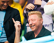 Boris Becker - Djokovic's coach. Novak Djokovic(SRB) faced Italian tennis bad boy F. Fognini in day seven of the 2014 Australian Open in Melbourne. Djokovic won over Fognini 3-6, 0-6, 2-6.
