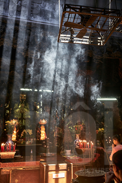 Incense sticks burning in The Jade Emperor Pagoda, Mai Thi Luu Street, District 1, Ho Chi Minh City, Vietnam, Southeast Asia