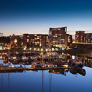 Limehouse basin harbour at dusk (London, United Kingdom (UK) - Jun. 2008) (Image ID: 080609-2121301a)
