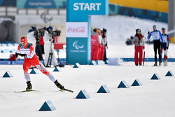 SKUPIEN Witold POL LW5/7 competing in the ParaSkiDeFond, Para Nordic Skiing, 20km at  the PyeongChang2018 Winter Paralympic Games, South Korea.