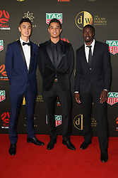 Players from the Westfield W-League and Hyundai A-League arrive on the red carpet for the 2018 Dolan Warren Awards at The Star Event Centre - 80 Pyrmont St, Pyrmont, NSW. 30 Apr 2018 Pictured: Daniel Champness and Joseph Champness, Joe Champness, Newcastle Jets. Photo credit: Richard Milnes / MEGA TheMegaAgency.com +1 888 505 6342