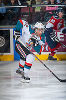 KELOWNA, CANADA - MARCH 27: Tyrell Goulbourne #12 of Kelowna Rockets skates against the Tri-City Americans on March 27, 2015 at Prospera Place in Kelowna, British Columbia, Canada.  (Photo by Marissa Baecker/Shoot the Breeze)  *** Local Caption *** Tyrell Goulbourne;