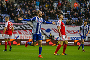 Wigan Nick Powell (25) celebrates first goal for his team during the EFL Sky Bet League 1 match between Wigan Athletic and Fleetwood Town at the DW Stadium, Wigan, England on 9 December 2017. Photo by Michał Karpiczenko.