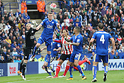 Leicester City defender Robert Huth (6)  clears the header  during the Barclays Premier League match between Leicester City and Southampton at the King Power Stadium, Leicester, England on 3 April 2016. Photo by Simon Davies.