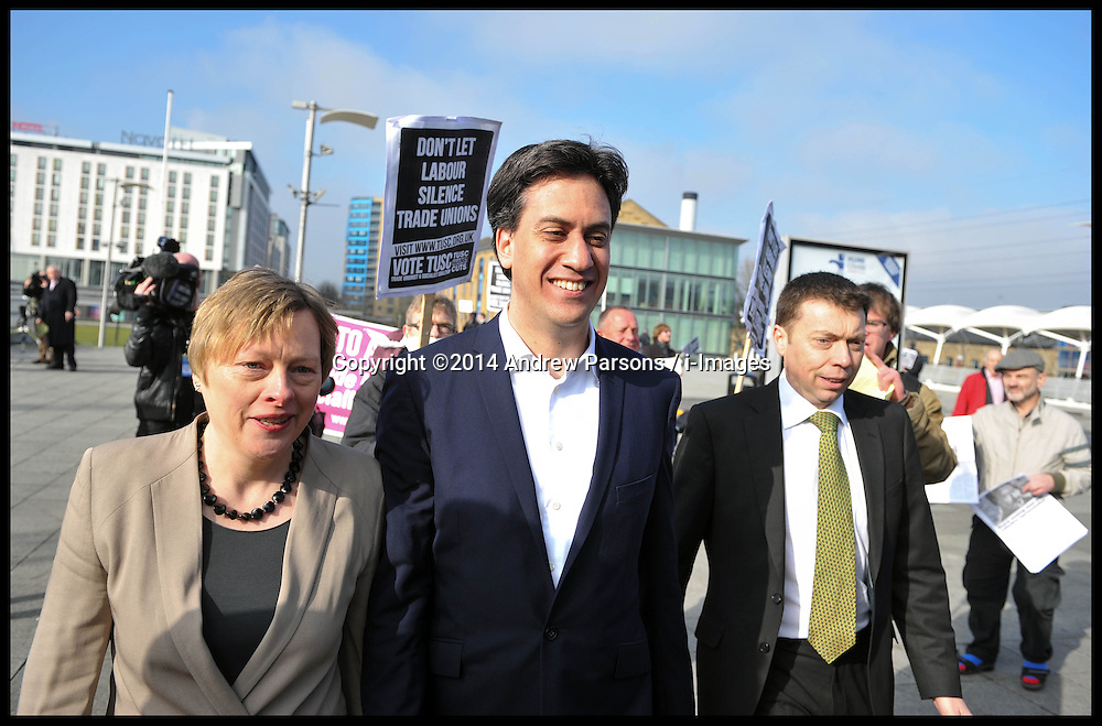 The Leader of the Labour Party Ed Miliband arrives at the Excel Centre with Angela Eagle( Left) and Ian McNicol General Secretary of the Labour Party Labour Party Special Conference. London, United Kingdom. Saturday, 1st March 2014. Picture by Andrew Parsons / i-Images