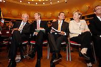 """22 AUG 2006, BERLIN/GERMANY:<br /> Juergen Ruettgers, CDU, Ministerpraesident Rheinland-Pfalz, Christian Wulff, CDU, Ministerpraesident Niederssachsen, Friedbert Pflueger, CDU, Parl. Staatssekretaer im BMVg und Spitzendkandidat der CDU Berlin bei der Abgeordnetenhauswahl, und Angela Merkel, CDU, Bundeskanzlerin, (v.L.n.R.), vor Beginn der Grundsatzprogramm-Kongresses der CDU unter dem Motto """" Grundsaetze fuer Deutschland"""", bcc Berliner Congress Center<br /> IMAGE: 20060822-01-007<br /> KEYWORDS: Friedbert Pflüger, Jürgen Rüttgers"""