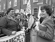 Irish Nurses Organisation Protest..28.05.1986..05.28.1986..28th May 1986..In protest against proposed health cuts the Irish Nurses Organisation organised a protest march to Dail Eireann. Nurses from all over Ireland were represented at the march...Picture shows Ms Mary O'Rourke, Fianna Fail TD,in conversation with protesting nurses at the rally against proposed health cuts.