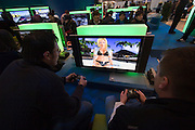 CeBit in Hannover/Lower Saxony is the the world's biggest annual IT fair..Karate game at Samsung PlayStation booth.