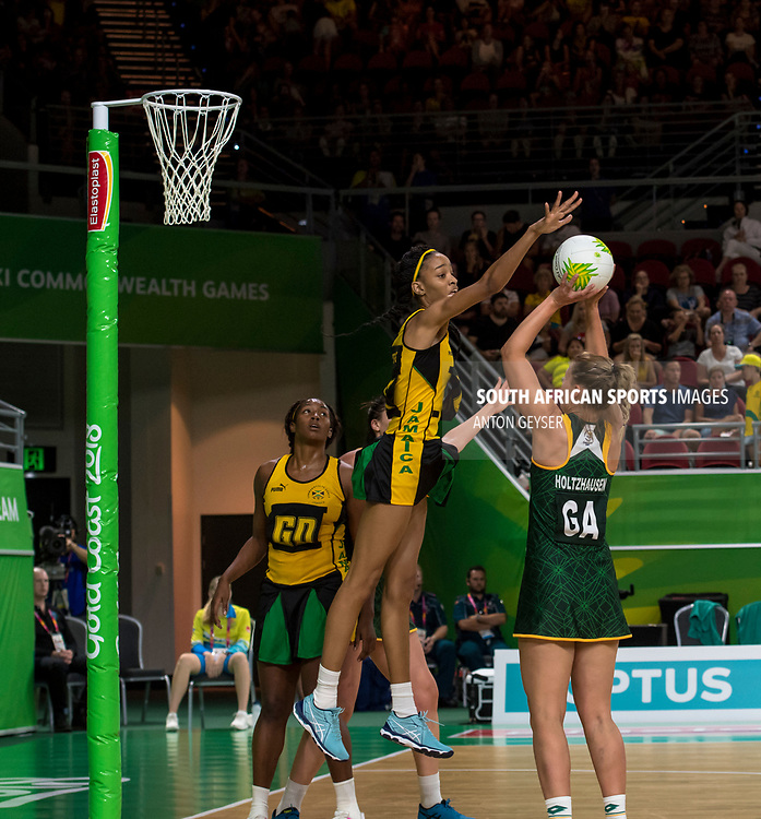 GOLD COAST, AUSTRALIA - APRIL 06: Maryka Holtzhauzen of South Africa in action during Women's Netball at day 2 of the Gold Coast 2018 Commonwealth Games at the Gold Coast Convention Centre on April 06, 2018 in Gold Coast, Australia. (Photo by Anton Geyser/Gallo Images)