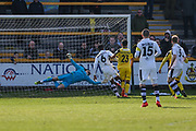 Southport's Rory McKeown(23) shoots at goal scores a goal 2-0 during the Vanarama National League match between Southport and Forest Green Rovers at the Merseyrail Community Stadium, Southport, United Kingdom on 17 April 2017. Photo by Shane Healey.