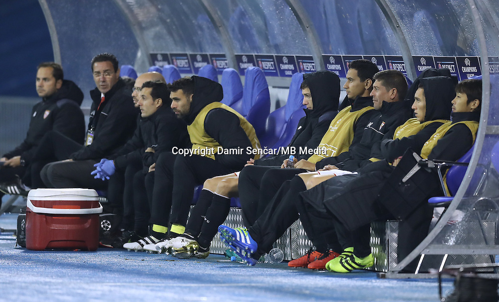 Japanese Player Horoshi on bench Dynamo Zagreb versus Seville, in Zagreb 18th Oct
