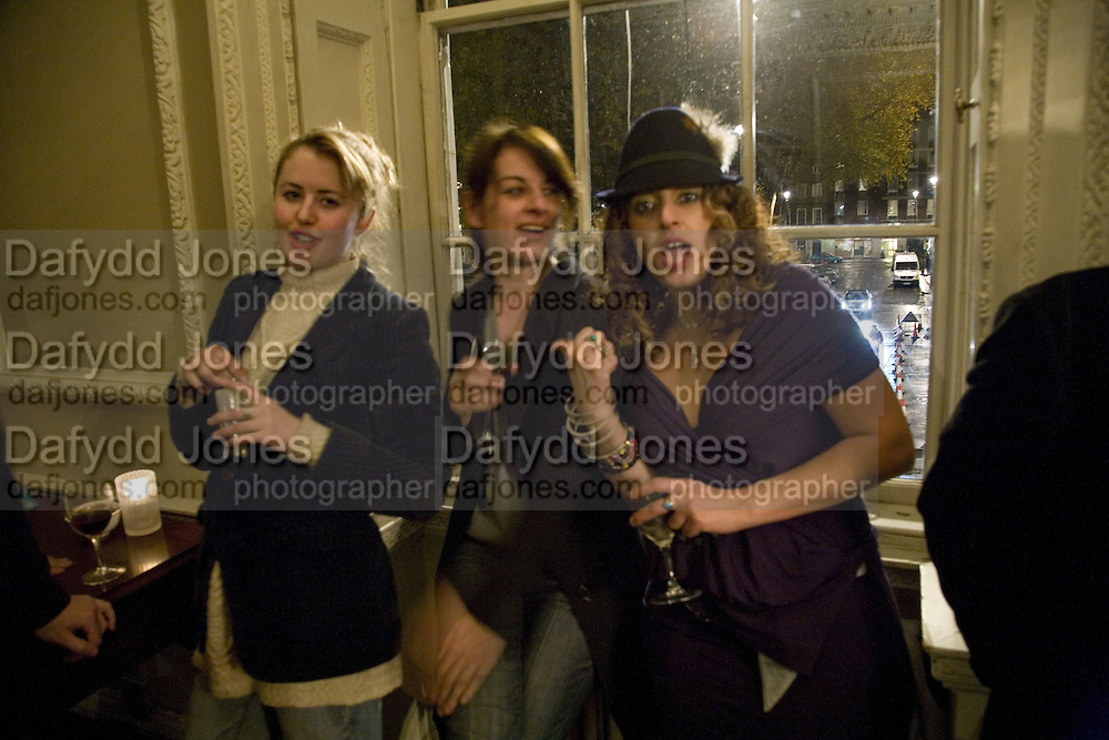 PHILLIPA HORAN, REBECCA WARREN AND GITY MONSEF, Opening of a new exhibition of collages by John Stezaker at The Approach W1. 74 Mortimer st. and afterwards at the House of St-Barnabas-in-Soho. Greek st. London. 21 November 2007. -DO NOT ARCHIVE-© Copyright Photograph by Dafydd Jones. 248 Clapham Rd. London SW9 0PZ. Tel 0207 820 0771. www.dafjones.com.