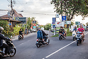 Motorcycles on Batubolong road, the main artery in Canggu.
