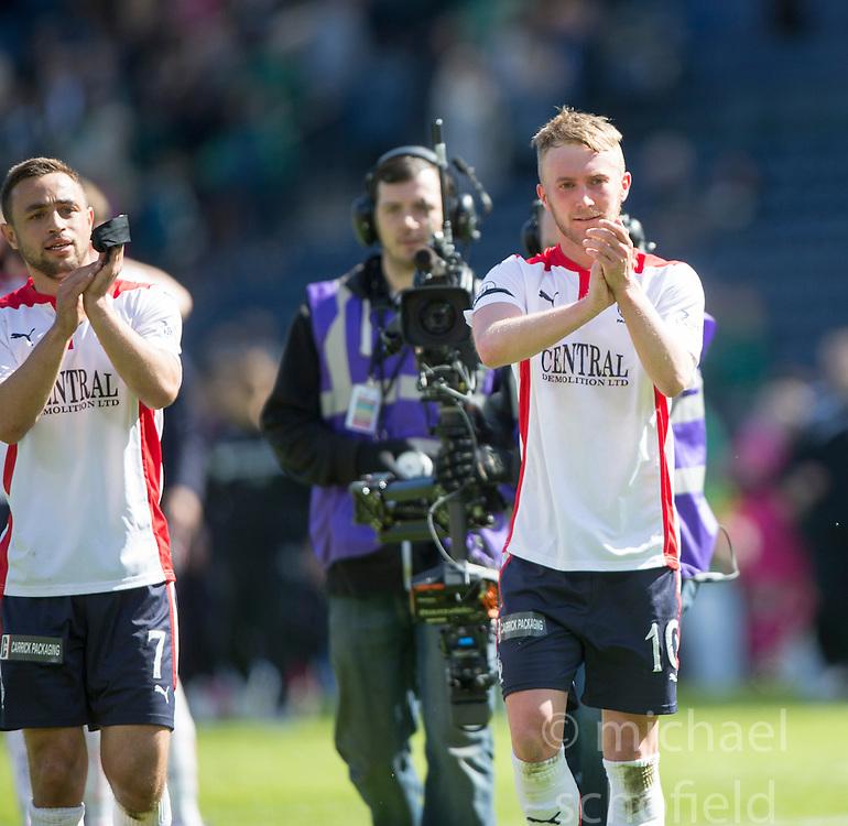 Falkirk's scorer Craig Sibbald (10) cele. Falkirk's players cele the win.<br /> Hibernian 0 v 1 Falkirk, William Hill Scottish Cup semi-final, played 18/4/2015 at Hamden Park, Glasgow.