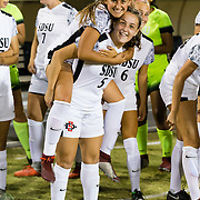 26 October 2018: The San Diego State women's soccer team wraps up it's regular season schedule at home for senior night against the New Mexico Lobos. The Aztecs dropped a physical match to the Lobos 3-1 Friday night.