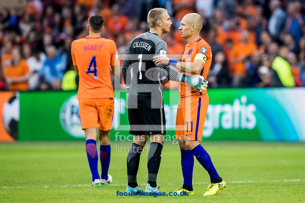 Arjen Robben of Netherlands (R), Jasper Cillessen of Netherlands (M) after the 2018 FIFA World Cup Qualifying match at Amsterdam Arena, Amsterdam<br /> Picture by Joep Joseph Leenen/Focus Images Ltd +316 5261929<br /> 03/09/2017<br /> ***NETHERLANDS OUT***