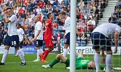 PRESTON, ENGLAND - Saturday, July 19, 2014: Liverpool's Kristoffer Pieterson celebrates scoring the second goal against Preston North End during a preseason friendly match at Deepdale Stadium. (Pic by David Rawcliffe/Propaganda)