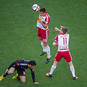 Nov 8, 2015; Harrison, NJ, USA; New York Red Bulls defender Matt Miazga (20) heads the ball during the first half of the MLS Playoffs at Red Bull Arena. Mandatory Credit: William Hauser-USA TODAY Sports